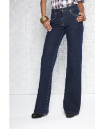 Stretch Wide Leg Embroidered Jeans
