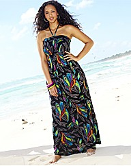 Petite Feather Print Maxi Dress