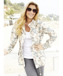 Floral Parka Jacket with Detachable Hood