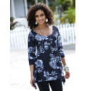 Floral Print Shaped Hem Jersey Top