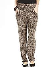 Tapered Leopard Print Jersey Trousers