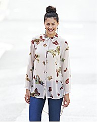 Sheer Dipped Back Butterfly Print Shirt