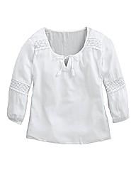 Long Crochet Detail Peasant Blouse