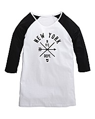 New York Logo Raglan Sleeve Top