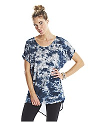 Ink Print Dipped Hem Top with Back Panel