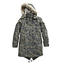 Fur Hooded Print Parka Jacket