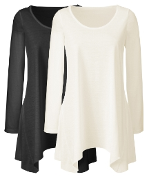 Pack of 2 Shaped Hem Tops
