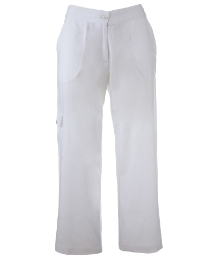 Cropped Linen Mix Trousers