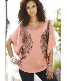 Printed Jersey Cape T-Shirt