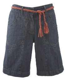 Denim Shorts with Plaited Belt
