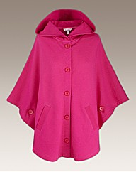 Hooded Button Through Jersey Cape