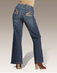 Wide Leg Jeans With Embroidery Detail