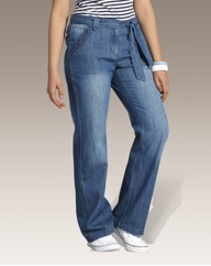 Slouch Jeans With Tie Belt Length 29in
