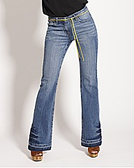 Flared Jeans with Leather Belt
