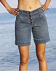High Waist Button Up Shorts