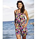 Print Playsuit with Drawstring Waist