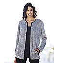 Grey Multi Faux Fur Zip Cardigan