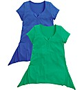 Pack of 2 Shaped Hem Jersey Tops