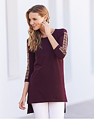 Embellished Sleeve Split Side Tunic