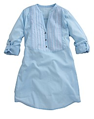 Pintuck Shirt with Roll-up Sleeve