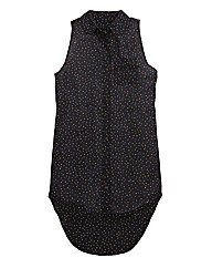Polka Dot Sleeveless Longline Shirt