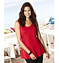 Bird Print Peplum Vest Top Length 27in