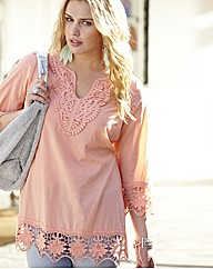 Crochet Trim Tunic Blouse