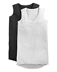 Pack Of 2 Dipped Back Boyfriend Tanks