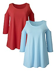 Pack Of 2 Cut Out Sleeve Jersey Tops