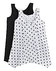 Pack Of 2 Shaped Hem Vests - Spot