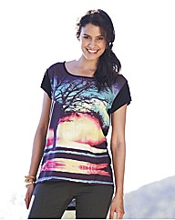 Woven Front Digital Photo Print Top