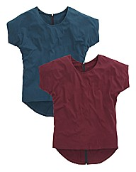Pack of 2 Back Zip T Shirts