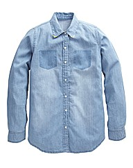 Lightweight Tipped Collar Denim Shirt