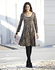 Leopard Print Flippy Tunic Dress