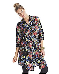 Petite Floral Print Shirt Dress