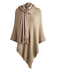 Joanna Hope Poncho and Scarf Set