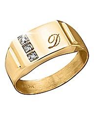 9ct Gold Diamond-Set Personalised Ring