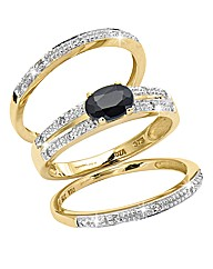 9 Carat Gold Gemstone & Diamond Ring Set