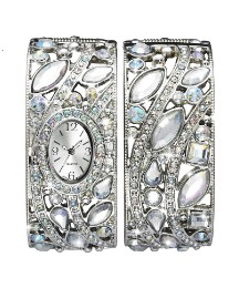 Glitzy Silver-Tone Watch & Bangle Set