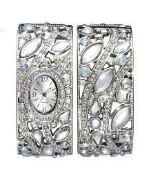 Glitzy Silver-Tone Watch & Bangle Set