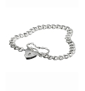 Sterling Silver Heart Padlock Bracelet
