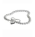 Sterling Silver Heart Padlock Bracelet