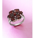 Sterling Silver & Garnet Flower Ring