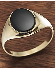 Gents 9ct Gold Oval Stone Ring