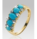 9ct Gold Turquoise & Diamond Ring