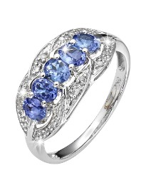 White Gold Tanzanite Diamond Ring