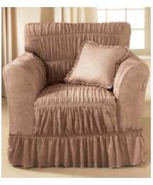 Moire Ruffled Plain Dye Furniture Covers