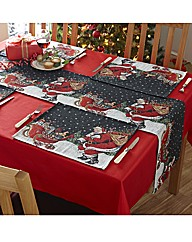Santa and Sleigh Tapestry Table Runner