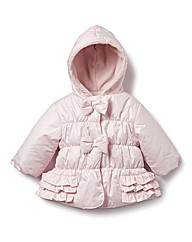 Zip Zap Hooded Girls Bow Jacket