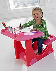 Pink Art Desk with Stationery